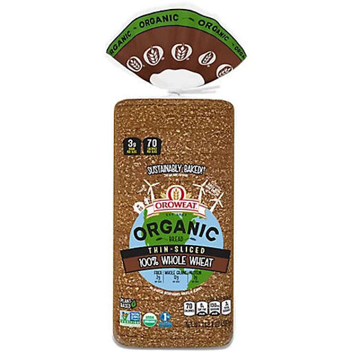 Picture of Oroweat Organic Bread 100% Whole Wheat Thin Sliced - 20 Oz