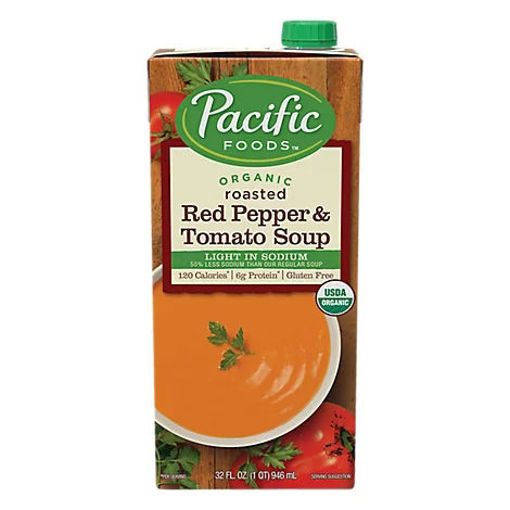 Picture of Pacific Organic Soup Roasted Red Pepper & Tomato Light In Sodium - 32 Fl. Oz.