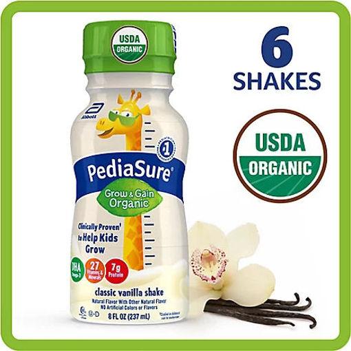 Picture of PediaSure Grow & Gain Organic Shake Ready To Drink Classic Vanilla - 6-8 Fl. Oz.