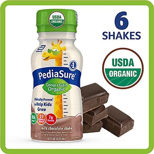 Picture of PediaSure Grow & Gain Organic Shake Ready To Drink Milk Chocolate - 6-8 Fl. Oz.