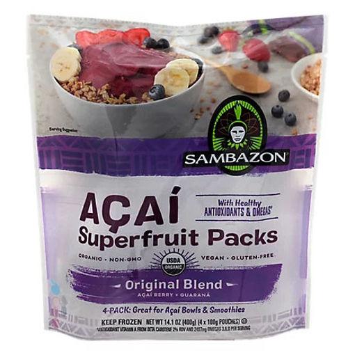 Picture of Sambazon Organic Superfruit Packs Orignal Blend Acai Berry + Guarana - 4-3.5 Oz