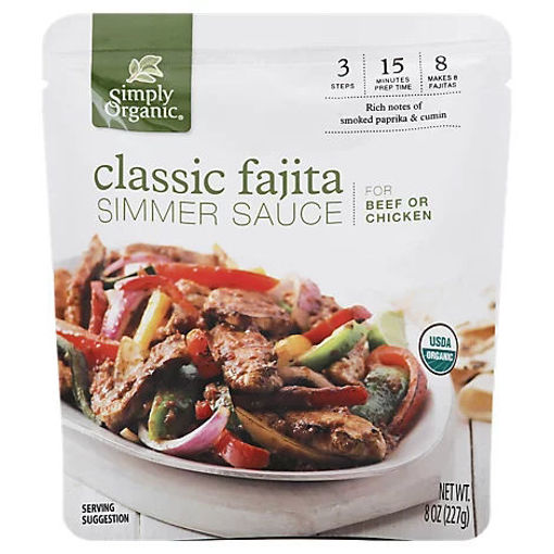 Picture of Simply Organic Organic Simmer Sauce Classic Fajita For Beef Or Chicken Pouch - 8 Oz
