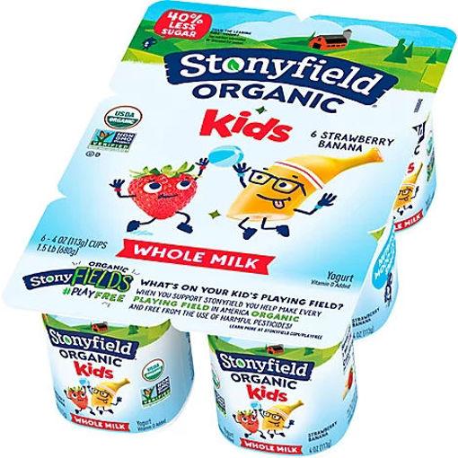 Picture of Stonyfield Organic Kids Yogurt Whole Milk Strawberry Banana - 6-4 Oz
