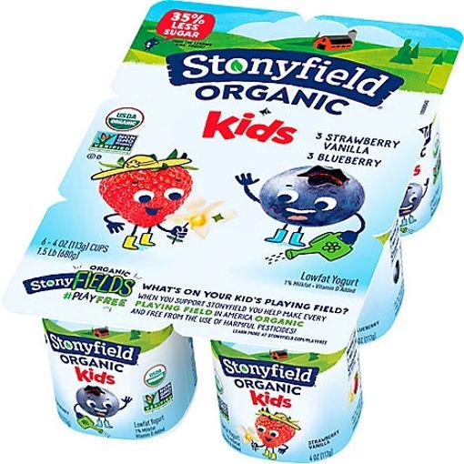 Picture of Stonyfield Organic Kids Yogurt Lowfat Blueberry Strawberry Vanilla - 6-4 Oz