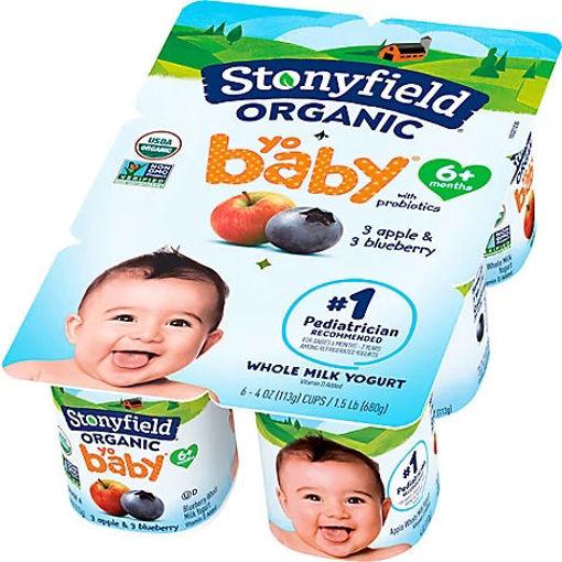 Picture of Stonyfield Organic Yobaby Yogurt With Probiotics Blueberry & Apple - 6-4 Oz
