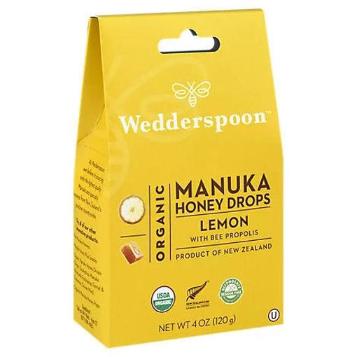 Picture of Wedderspoon Organic Manuka Honey Drops Lemon With Bee Propolis - 4 Oz